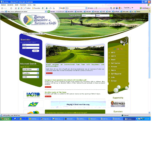 It's now on air the new BGTB's website www.golfinbrazil.com.br with information about the main Brazilian golf courses and hotels. Now in three languages - Portuguese, English and Spanish - this new tool for golfers was totally reformulated bringing actualized news about the trade and Bureau's associated enterprises, high and low resolution images of the golf courses, useful links and a search tool that helps the golfer to find the best place to play golf in Brazil.