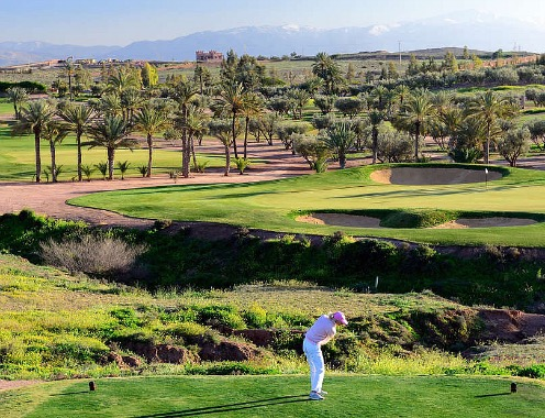 Golfbaan bij single golftoernooi Marrakech Marokko